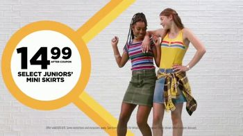JCPenney The Bus Stops Here Sale TV Spot, 'Extra 25 Percent Off: Mini Skirts, Jeans and Bras' - 401 commercial airings