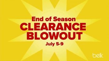 Belk End of Season Clearance Blowout TV Spot, 'Kids Tees and Shorts, Men's Tees and Women's Knits'