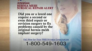 Meyer Law Firm TV Spot, 'Hernia Mesh Surgical Repair Alert' - Thumbnail 2