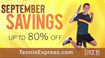 Tennis Express September Savings TV Spot, 'Shoes, Clothing, Rackets & Bags: Up to 80 Percent Off' - Thumbnail 1
