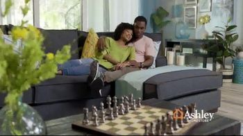 Ashley HomeStore Columbus Day Sale TV Spot, 'Queen Panel Bed and Sofa' Song by Midnight Riot