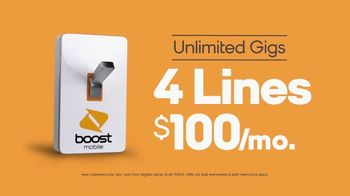 Boost Mobile Unlimited Gigs TV Spot, 'Can't Stream or Share?: Four Lines' - Thumbnail 7