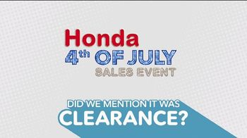 Honda 4th of July Sales Event TV Spot, 'Get Ready for Clearance' [T2] - Thumbnail 7