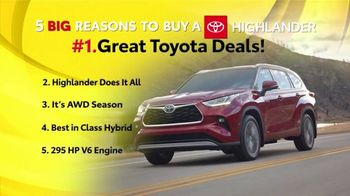 Toyota 5 Big Reasons Event TV Spot, 'Reasons to Buy a Highlander' [T2]