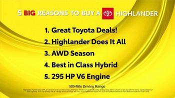 Toyota 5 Big Reasons Event TV Spot, 'Reasons to Buy a Highlander' [T2] - Thumbnail 1