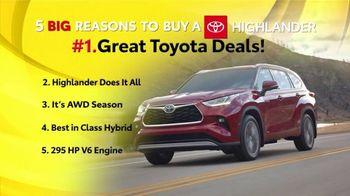 Toyota 5 Big Reasons Event TV Spot, 'Reasons to Buy a Highlander' [T2] - Thumbnail 2