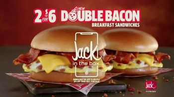 Jack in the Box 2 for $6 Double Bacon Breakfast Sandwiches TV Spot, 'All Day and All Night'