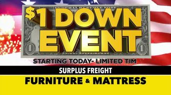 Surplus Discount Furniture & Mattress Warehouse $1 Down Event TV Spot, 'Motion Sofas and Bedrooms' - Thumbnail 1