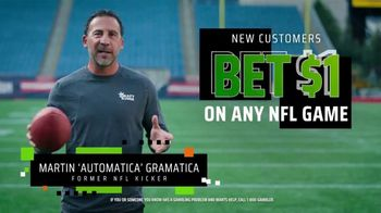DraftKings SportsBook TV Spot, 'The NFL Is Back' Featuring Martin Gramatica - Thumbnail 5