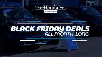 Happy Honda Days Sales Event TV Spot, 'Black Friday Deals All Month Long' [T2] - Thumbnail 2