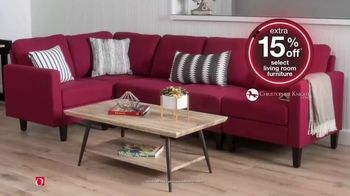 Overstock.com Early Black Friday Sale TV Spot, 'Extra 15% Off Select Living Room Furniture'