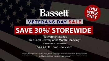 Bassett Veterans Day Sale TV Spot, 'Custom Orders'