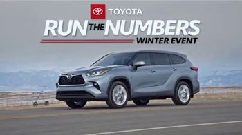 Toyota Run the Numbers Winter Event TV Spot, 'Save: Highlander' [T2]