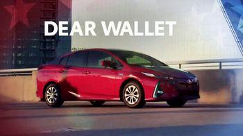 Toyota TV Spot, 'Presidents Day: Dear Wallet: Prius Prime' [T2] - Thumbnail 1