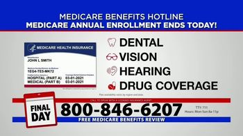 Medicare Benefits Hotline TV Spot, 'Annual Enrollment Period: Final Day' - Thumbnail 4