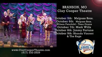 Clay Cooper Theatre TV Spot, 'October 2020: Malpass Bros., Mark Wills, Jimmy Fortune' - 15 commercial airings