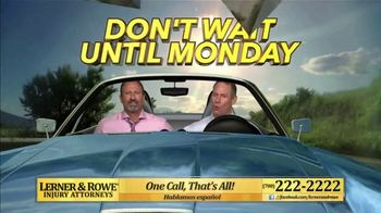 Lerner and Rowe Injury Attorneys TV Spot, 'Weekend: Car Wreck'