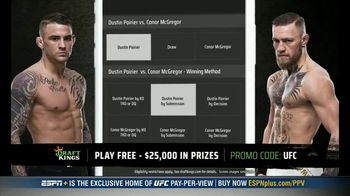 DraftKings Pools TV Spot, 'UFC 257: Tonight's Action: $25,000 Pool' - Thumbnail 6