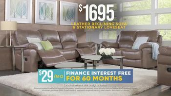 Rooms to Go Holiday Sale TV Spot, 'Leather Reclining Sofa & Stationary Loveseat: $1,695' - Thumbnail 6