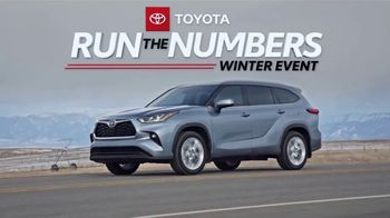 Toyota Run the Numbers Winter Event TV Spot, 'Save: Highlander' [T2] - Thumbnail 1