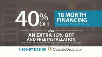 Closets by Design TV Spot, 'More Than Organizing: 40% Off' - Thumbnail 4