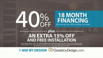 Closets by Design TV Spot, 'More Than Organizing: 40% Off' - Thumbnail 5