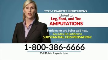 Robin Raynish Law TV Spot, 'Diabetes Amputations'