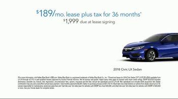 Honda Dream Garage Spring Event TV Spot, 'Service Upgrade: 2018 Civic LX' [T2] - Thumbnail 8