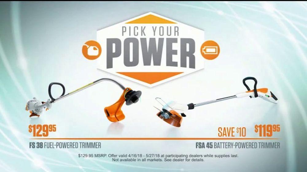 stihl dealer days tv commercial 39 pick your power fuel or. Black Bedroom Furniture Sets. Home Design Ideas