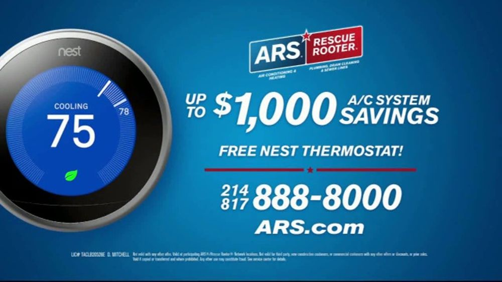 ars rescue rooter tv commercial hvac system nest thermostat