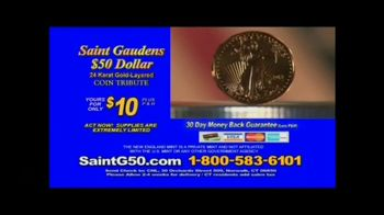 New England Mint Coins Saint Gaudens $50 Double Eagle TV Spot, 'Intricate' - Thumbnail 8