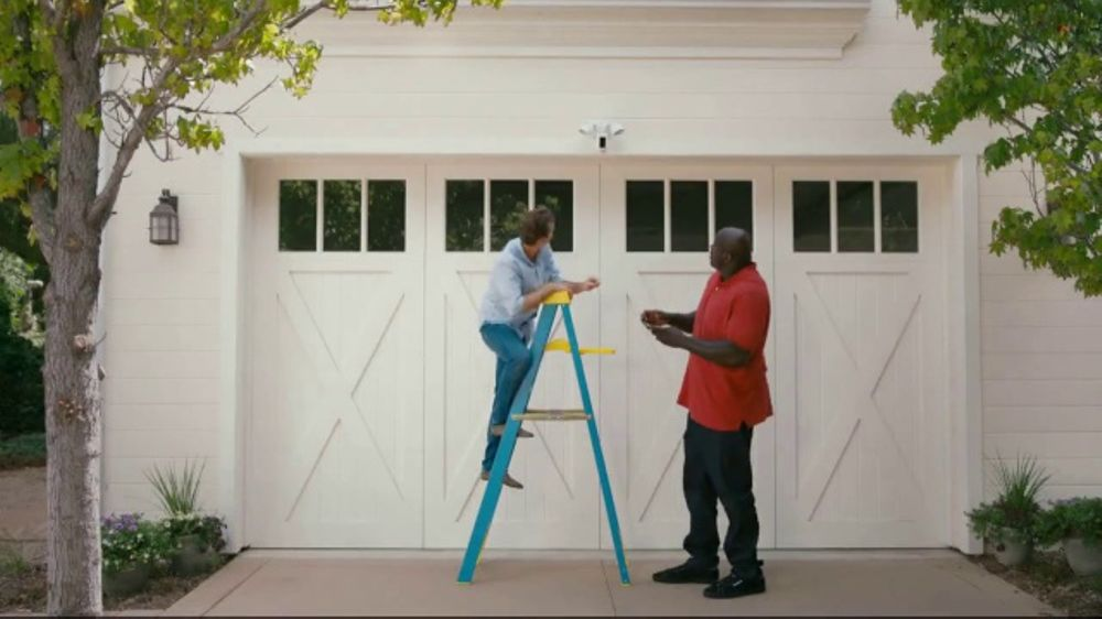 garage flood light garage overhead ring floodlight cam tv commercial alarm featuring shaquille oneal ispottv