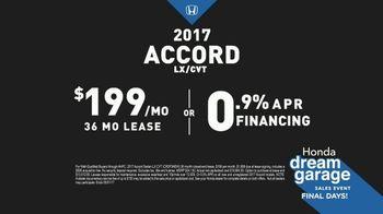 Honda Dream Garage Sales Event TV Spot, '2017 Accord vs. 2017 Camry' [T2] - Thumbnail 7