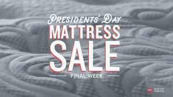 Value City Furniture Presidents' Day Mattress Sale TV Spot, 'Final Week' - Thumbnail 1