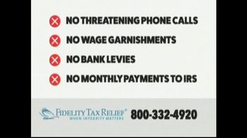 Fidelity Tax Relief IRS Fresh Start Program TV Spot, 'No Payments' - Thumbnail 3