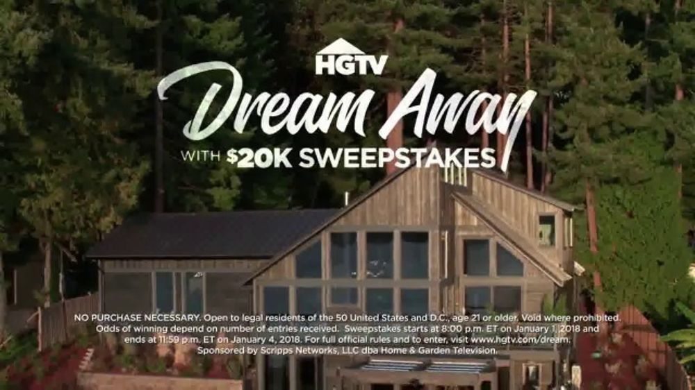 2018 hgtv dream away with 20k sweepstakes tv commercial 39 dream home 39. Black Bedroom Furniture Sets. Home Design Ideas