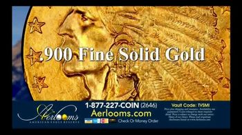 Aerlooms Indian Head Gold Coins TV Spot, 'Original and Authentic'
