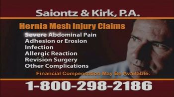 Saiontz & Kirk, P.A. TV Spot, \'Hernia Mesh Injury Claims\'