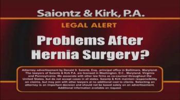 Saiontz & Kirk, P.A. TV Spot, 'Hernia Mesh Injury Claims' - Thumbnail 1