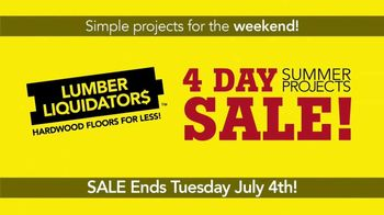 Lumber Liquidators 4 Day Summer Projects Sale TV Spot, 'Simple Projects' - Thumbnail 2