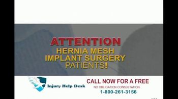 Injury Help Desk TV Spot, 'Hernia Mesh Implant Surgery' - Thumbnail 1