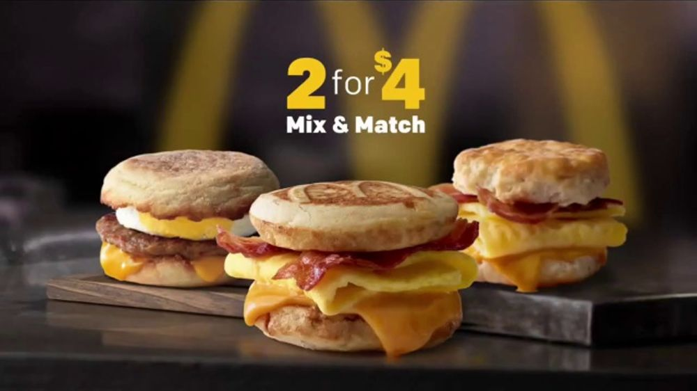 mcdonald s 2 for 4 breakfast sandwiches tv commercial mix match