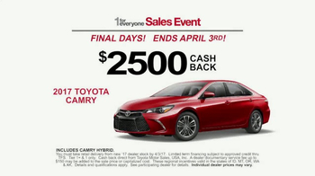 Toyota 1 For Everyone Sales Event TV Spot, 'Cashback on Camry' [T2] - Thumbnail 2