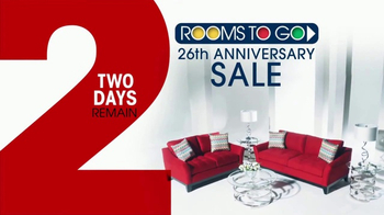 Rooms to Go 26th Anniversary Sale TV Spot, 'Last Two Days' - Thumbnail 2