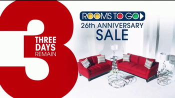 Rooms to Go 26th Anniversary Sale TV Spot, 'Three Days Remain' - Thumbnail 2