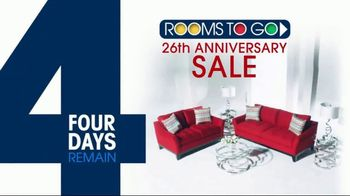 Rooms to Go 26th Anniversary Sale TV Spot, 'Four Days Remain'