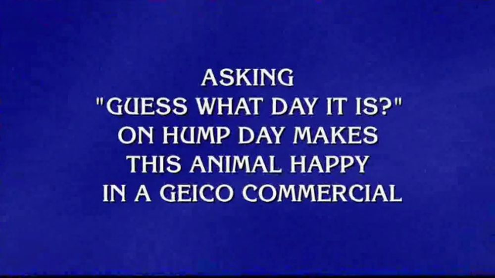 Roadside Assistance Progressive >> GEICO TV Commercial, 'Jeopardy!: Hump Day' - iSpot.tv