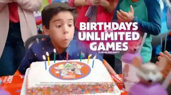 Chuck E. Cheese's TV Spot, 'Birthday Parties With Unlimited Games' - 7068 commercial airings