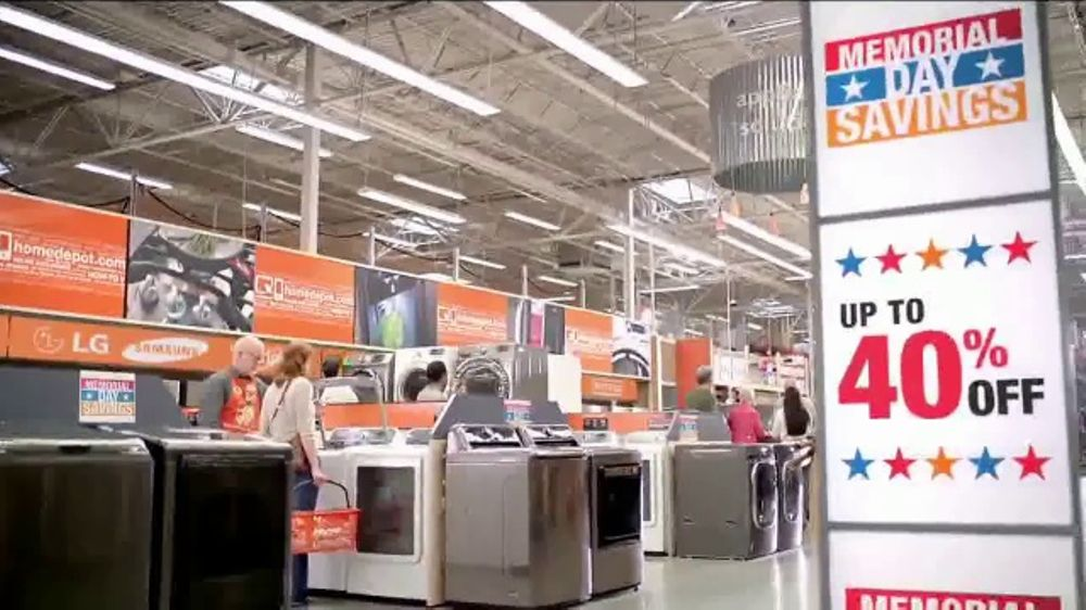 the home depot tv commercial 39 memorial day savings appliance upgrade 39. Black Bedroom Furniture Sets. Home Design Ideas