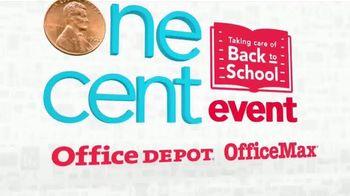 Office Depot One Cent Event TV Spot, 'Pens, Scissors & Folders''